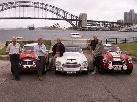 Three Austin Healey 3000s which have driven London to Sydney, with their drivers