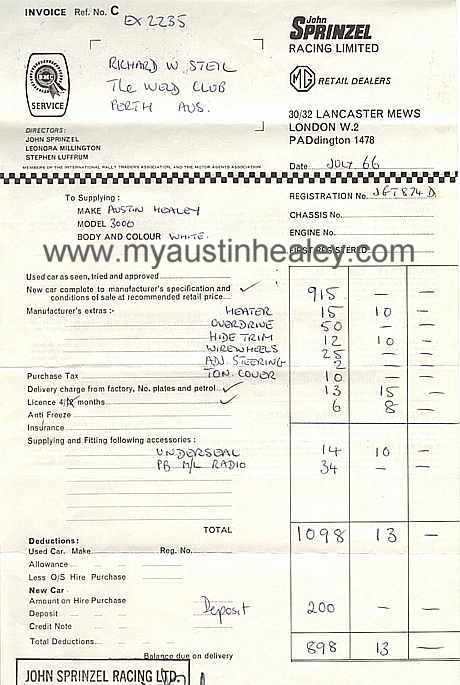 Invoice from John Sprinzel Racing Ltd for the Black & white Healey 3000